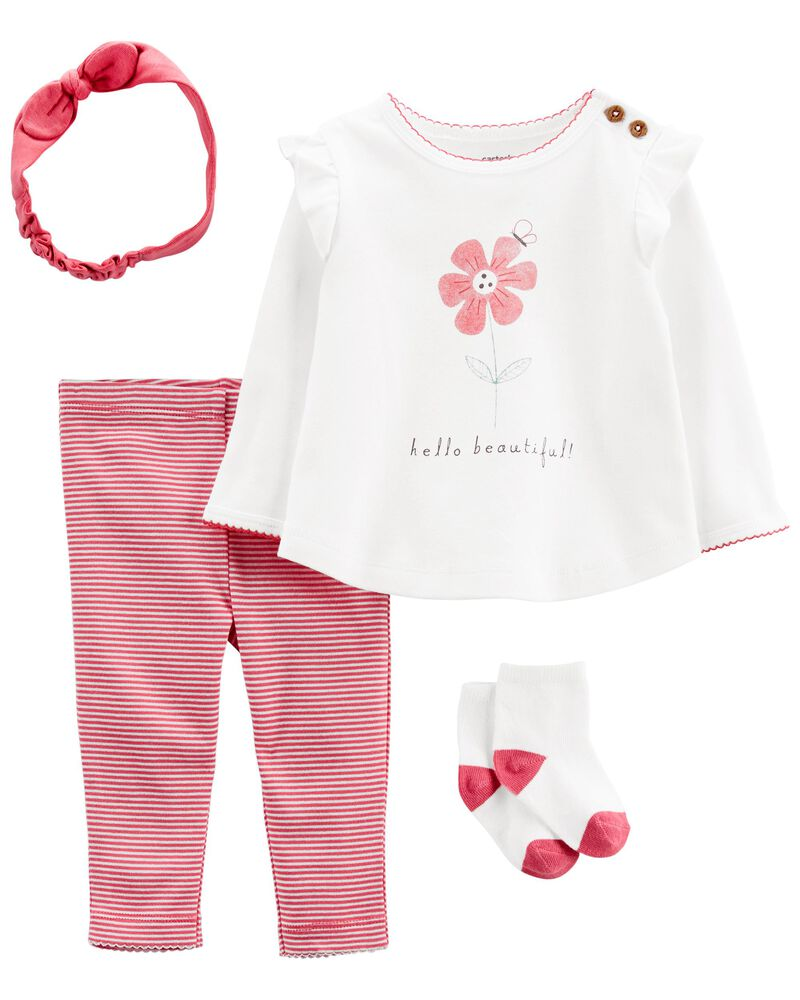 4-Piece Hello Beautiful Outfit Set, , hi-res