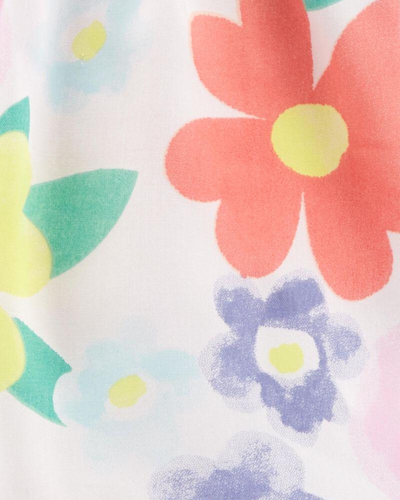 Robe fleurie en popeline crochetée, , hi-res