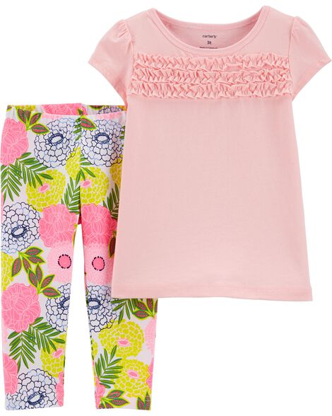 2-Piece Smocked Jersey Tee & Floral Legging Set