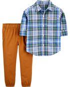 2-Piece Plaid Button-Front Shirt & Pant Set, , hi-res