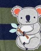 Grenouillère en molleton à glissière motif koala, , hi-res