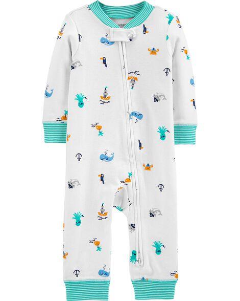 Pyjama 1 pièce sans pieds en coton ajusté à motif plage