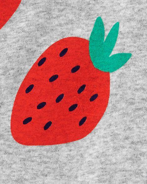 Pyjama 1 pièce sans pieds en coton ajusté motif fraise