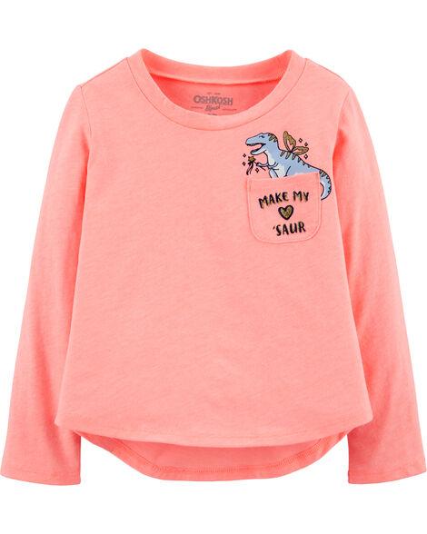 T-shirt en jersey flammé à poche et dinosaure