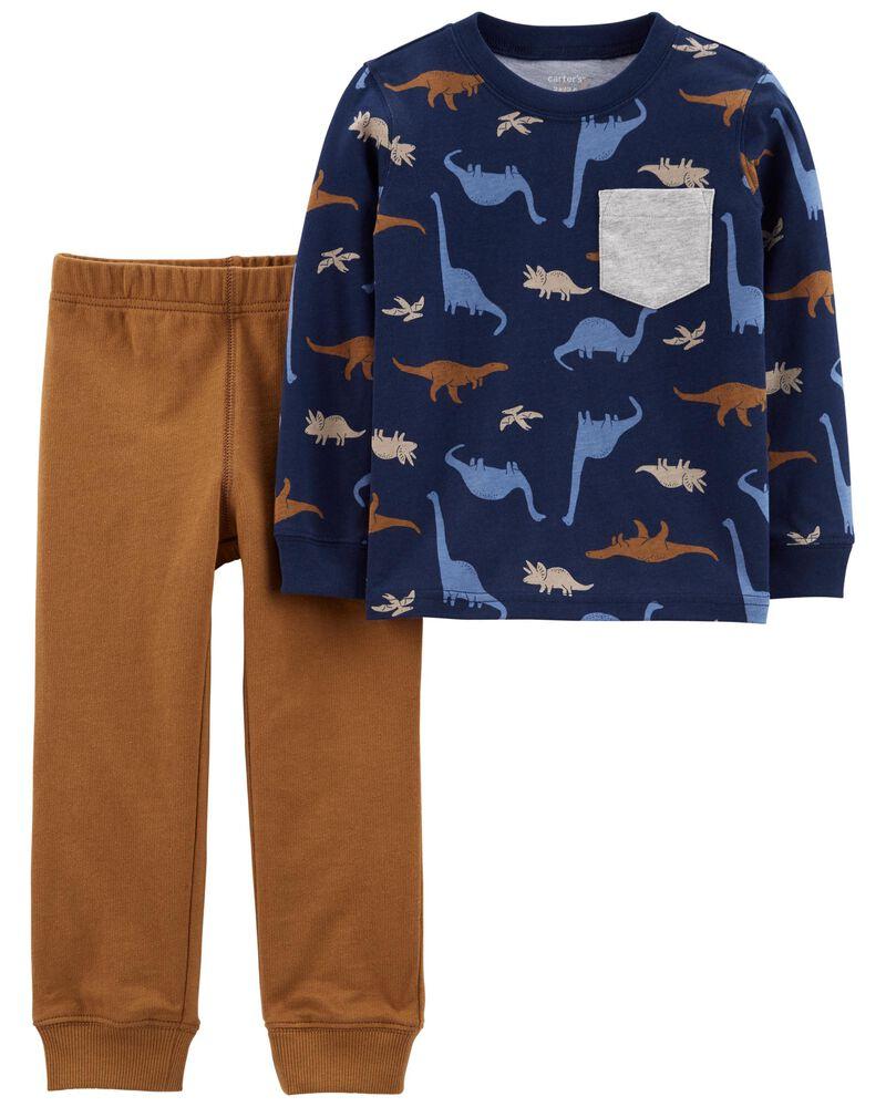 Ensemble 2 pièces t-shirt à dinosaure en jersey et pantalon de jogging , , hi-res