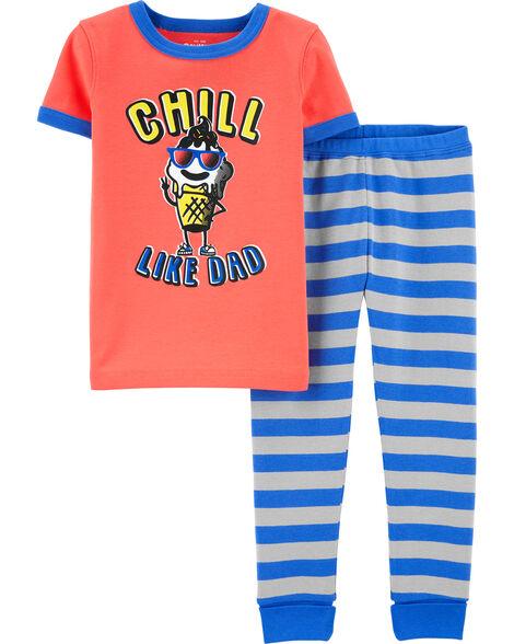 Pyjama en coton ajusté motif crème glacée