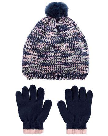 2-Pack Striped Hat & Mittens Set