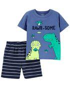 Ensemble 2 pièces t-shirt à dinosaure et short, , hi-res