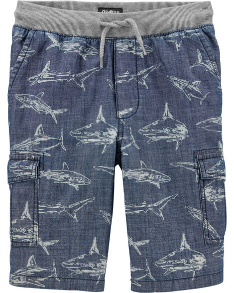Pull-On Shark Cargo Shorts