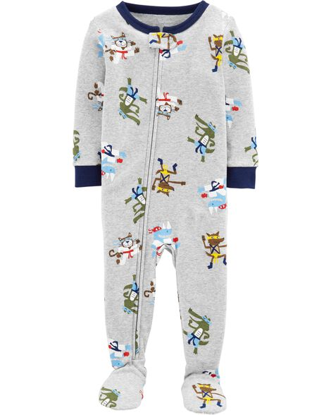 1-Piece Ninja Snug Fit Cotton Footie PJs