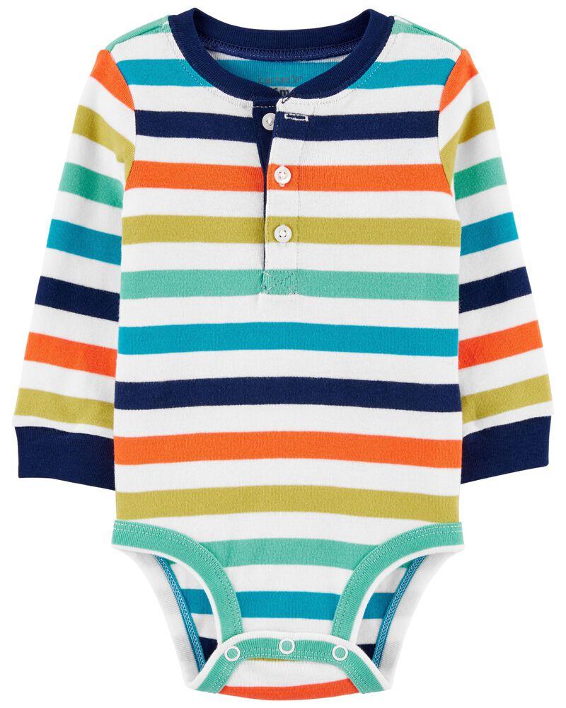 Striped Henley Bodysuit, , hi-res