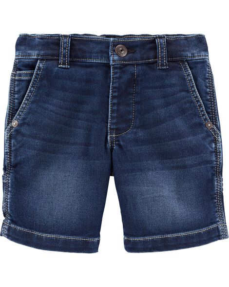 Knit Denim Utility Shorts