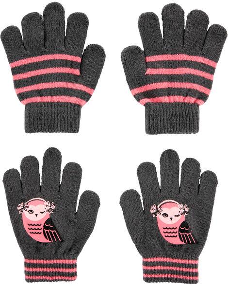 Emballage de 2 paires de gants chouette à paume antidérapante
