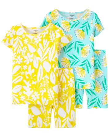 Pyjamas 4 pièces en coton ajusté à...
