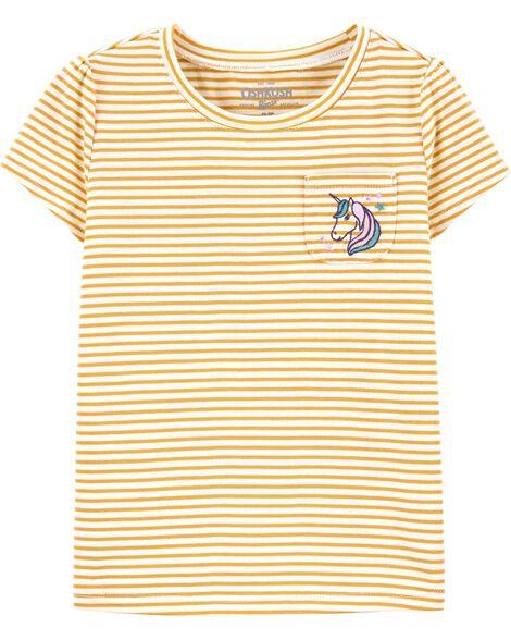 T-shirt rayé avec poche et licorne