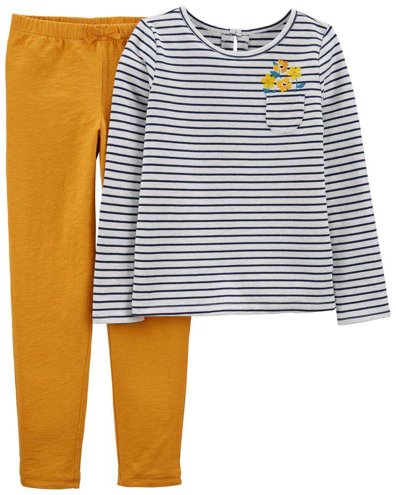 Ensemble 2 pièces t-shirt à rayures et pantalon en jersey flammé, , hi-res