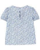Floral Puff-Sleeve Top, , hi-res