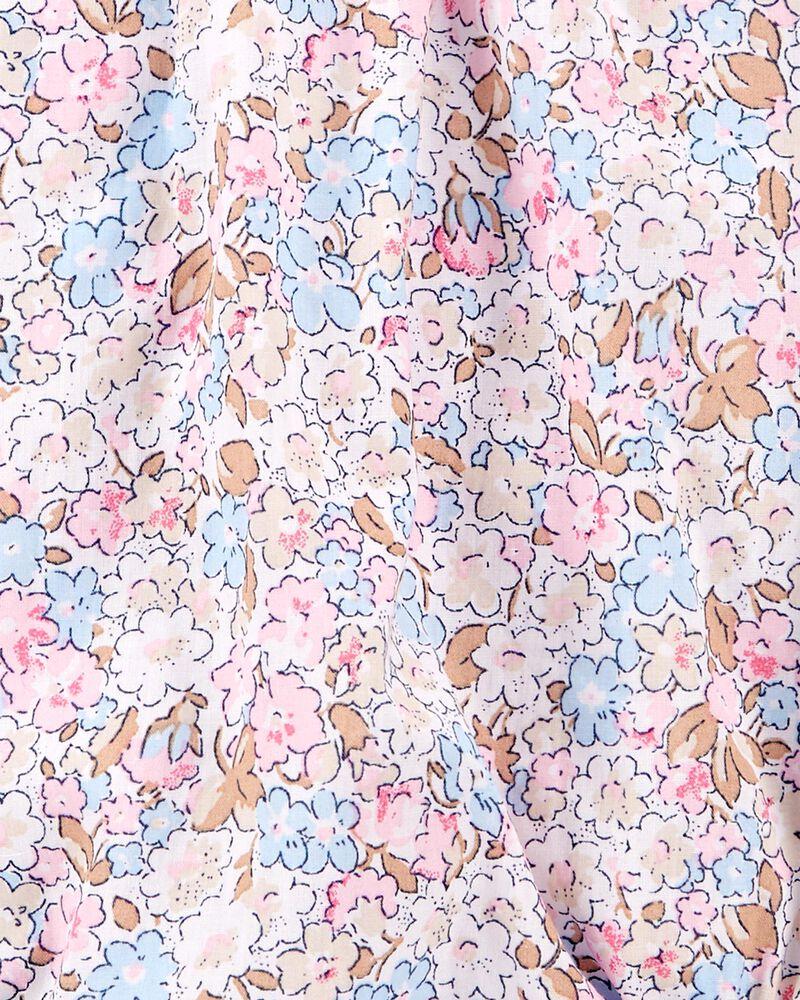 Cache-couche en popeline plissée à fleurs, , hi-res