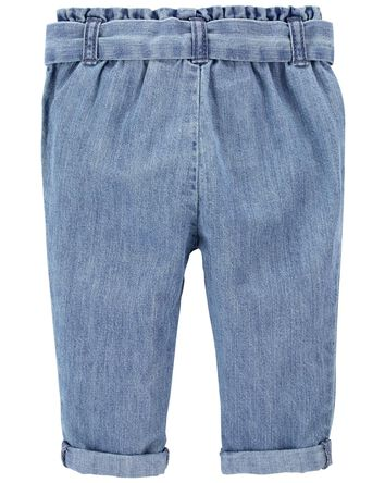 Paperbag Waist Denim Pants