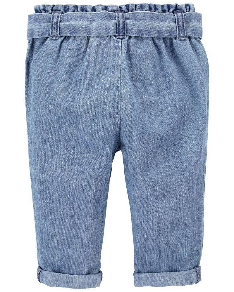 Pantalon en denim froncé à la taille, , hi-res