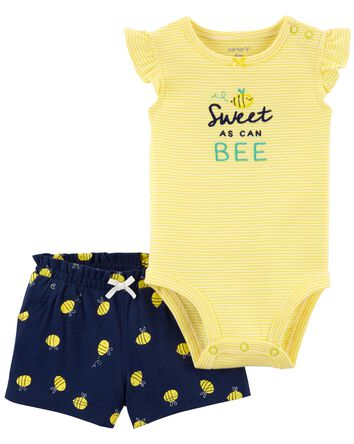 2-Piece Bee Bodysuit & Short Set