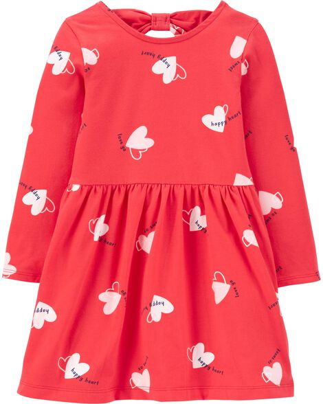 Heart Bow Back Jersey Dress