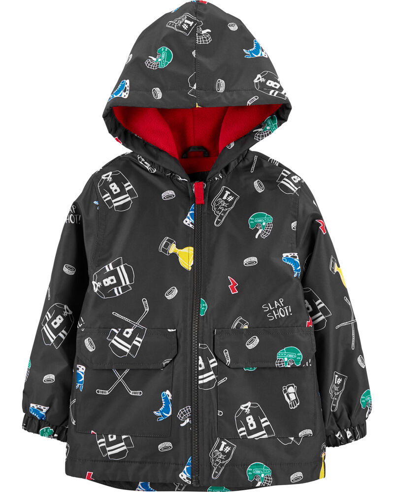 Hockey Print Fleece-Lined Rain Jacket, , hi-res