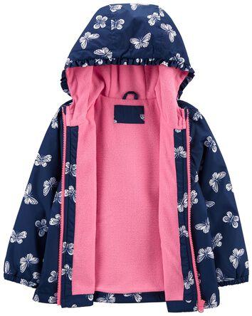 Fleece-Lined Butterfly Print Jacket