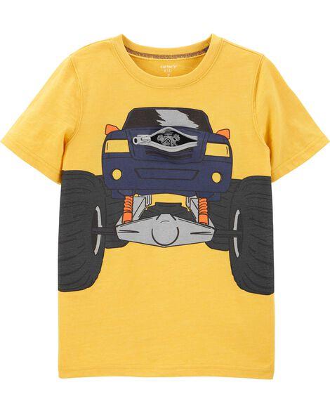 T-shirt chiné à camion à camion monstre interactif sous une glissière