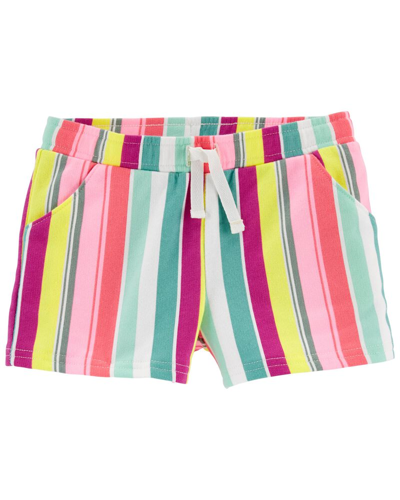 Striped Pull-On French Terry Shorts, , hi-res