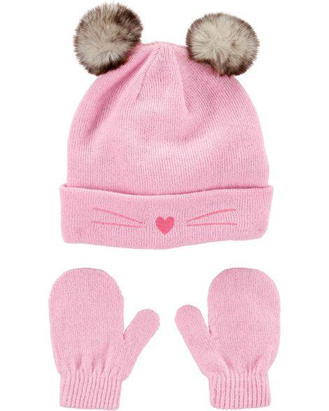 2-Piece Cat Hat & Mitten Set