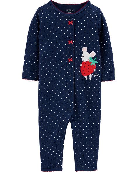 Grenouillère sans pieds en coton avec boutons-pression et motif de fraise et de souris