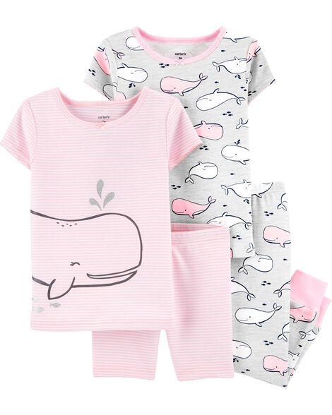 4-Piece Whale Snug Fit Cotton PJs