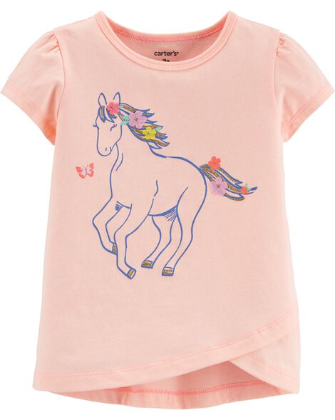 T-shirt en jersey et cheval scintillants