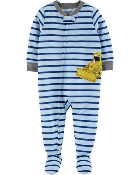 Pyjama 1 pièce à pieds en polyester motif bulldozer