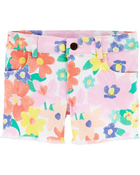 Floral Frayed Twill Shorts