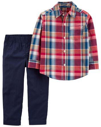 2-Piece Plaid Button-Front Shirt &...