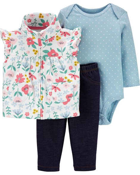 3-Piece Floral Little Vest Set
