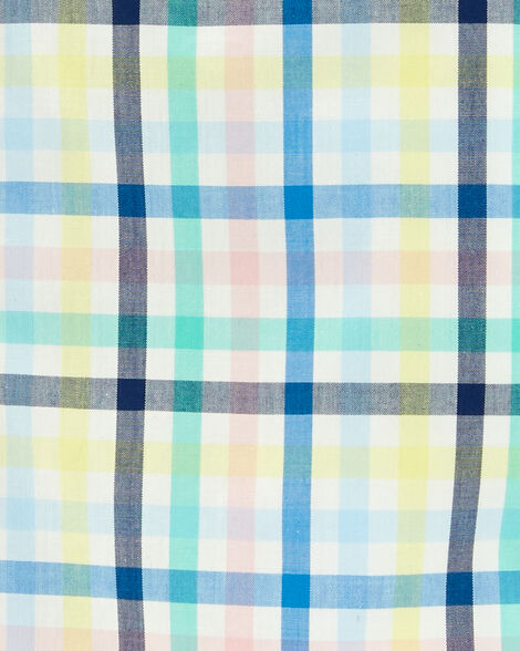 2-Piece Plaid Button-Front Shirt & Denim Pant Set