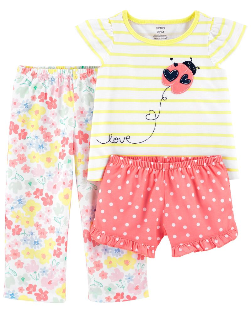3-Piece Ladybug Loose Fit PJs, , hi-res