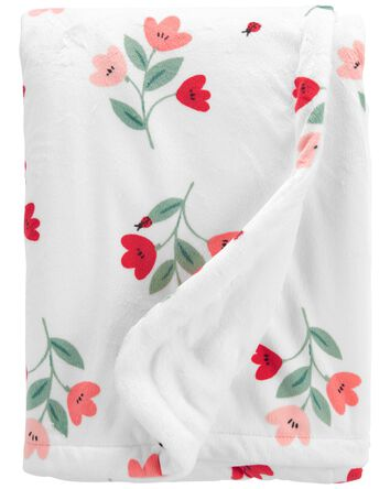Floral Fuzzy Plush Blanket