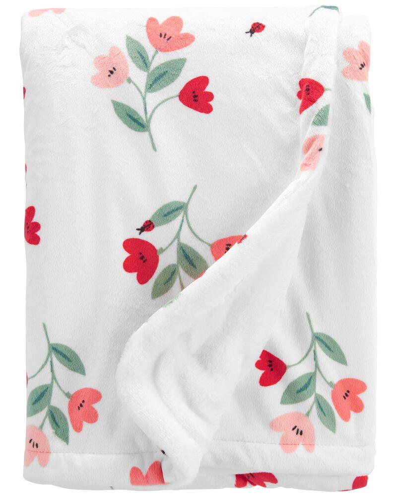 Floral Fuzzy Plush Blanket, , hi-res