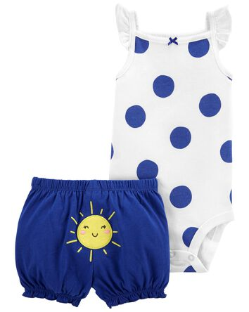 2-Piece Polka Dot Bodysuit & Short...