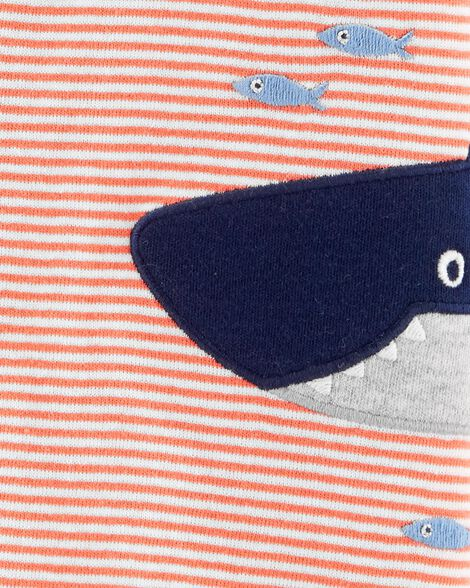 Striped Shark Snap-Up Romper