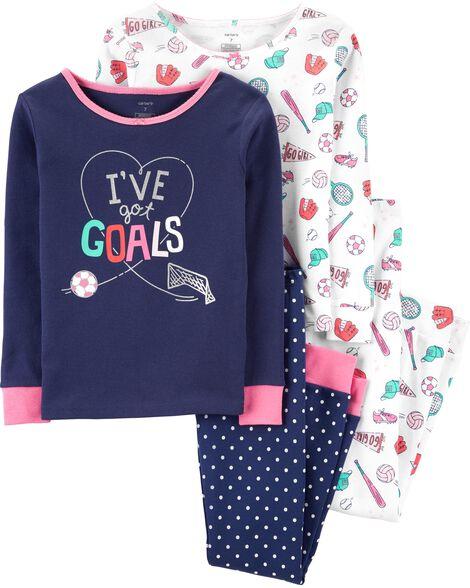Pyjamas 4 pièces en coton ajusté sports