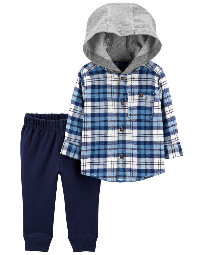 2-Piece Hooded Flannel Top & French Terry Joggers Set, , hi-res