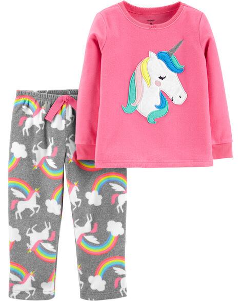 2-Piece Unicorn Fleece PJs
