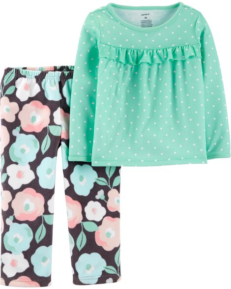 2-Piece Floral Fleece PJs