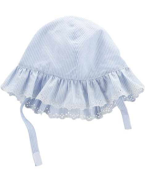Striped Eyelet Sun Hat