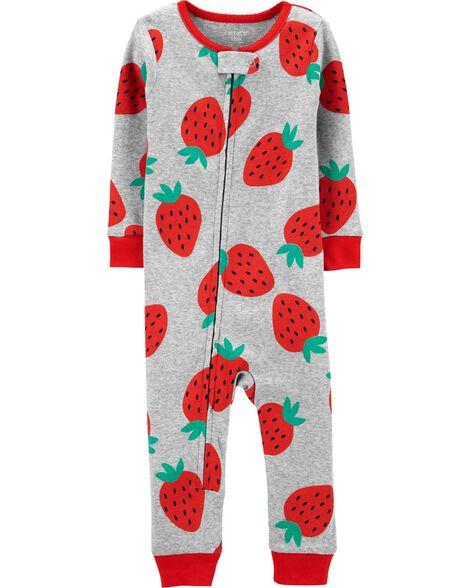 1-Piece Strawberry Snug Fit Cotton Footless PJs
